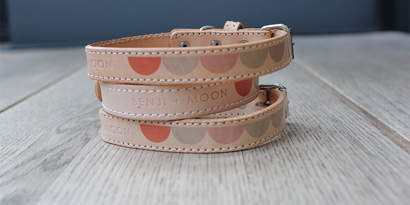 Benji + Moon Moon leather dog collar: From South Africa, this wonderful label by Hanneke Schutte and Karen Carr (and their seven dogs plus cat)hits all the right spots: modern design,produced by local artisans, and 5% goes to charity CLAW (Community Led Animal Welfare). The signature Moon collar is just a very beautiful piece of design.Matching leads are available, bien sur.From £14.28