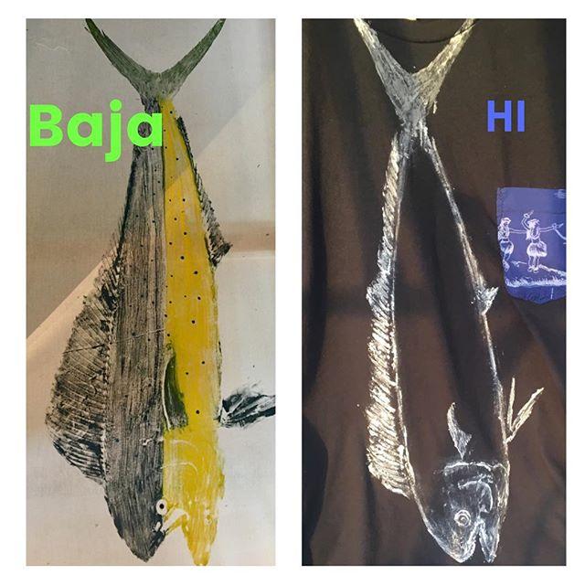 Gyotaku comparison.  Mexico vs Hawaii... #hawaiimobetta #bajafishprintssuck #hawaii #gyotaku #casuallyclassy #fishtiet #dorado #mahimahi #fishing #wearableart #baja #mexico #shopmycloset