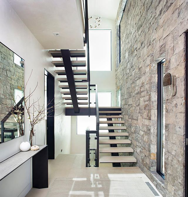 The entry at my Cooper Street project Photographed by the talented @brent_moss_photography . . . . #aspen #aspencolorado #interiors #stairway #architecture #interiordesign #entry #ginaturchininteriors