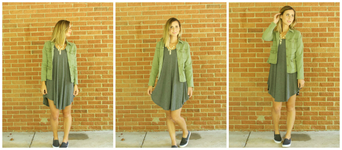 Dress - Ferne Boutique // Jacket - Thrifted (similar one here) // Shoes - Target (similar)