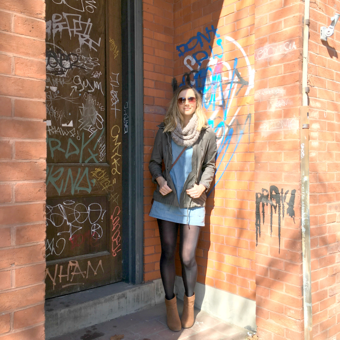 "Dress- Ferne Boutique // Jacket - Thrifted F21 // Booties - Thrifted // Scarf - Ona Boutique I'm all about affordable fashion, and I am completely addicted to thrifting. The thrill of the hunt gets me going! I am always compulsively sharing with people that I scored a cute outfit for only $10! ""Hey, that jacket is so cute!"" ""Oh thanks! It was only $6 but it had a green tag so I got it for $3!"" Then the person slowly backs away from me, because they didn't actually care and were simply being nice. But in all seriousness, you can have a sustainable and versatile wardrobe without emptying your bank account. You all know that adorable fashion blogger who is constantly posting amazing outfits. Then you click the links and realize each item is $100-$200+ ... Well fuck... that's never gonna happen. Instead, I love pairing a  staple item like this Chambray shift dress with thrifted items to have a perfectly easy brunch outfit. HELLO SPRIIINNNNGGGGG I've missed you!"