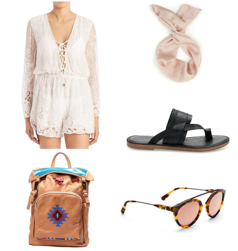 Romper  //  Backpack  //  Headband  //  Sandals  //  Sunglasses  //