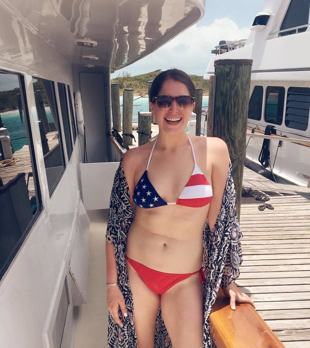 Boat to my right is the Hopkinton boat. Because of course I had to snap a picture to commemorate the moment. And yes, I'm very pro patriotic swimwear.