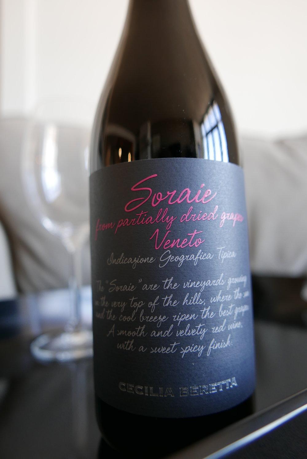 Bottle of Soraie wine, my favorite