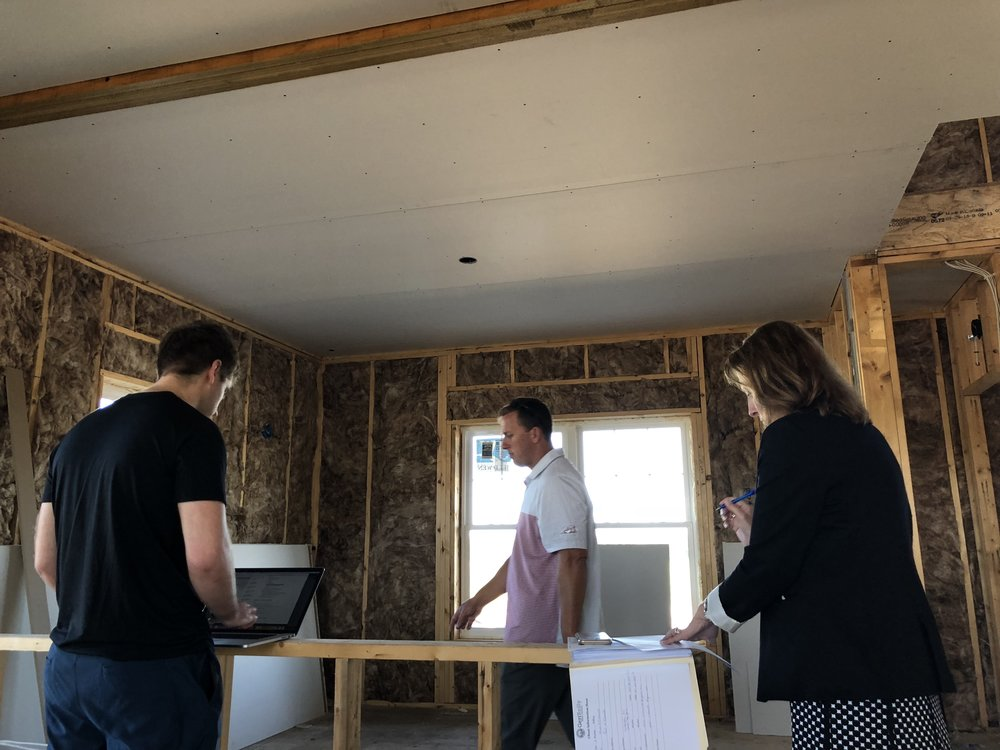 I mean, what kind of a blogger would I be if I didn't document EVERYTHING?! Here we are in a similar home to ours that's currently under construction. We're walking through our list of questions with our builder and real estate agent. So. Many. Questions!