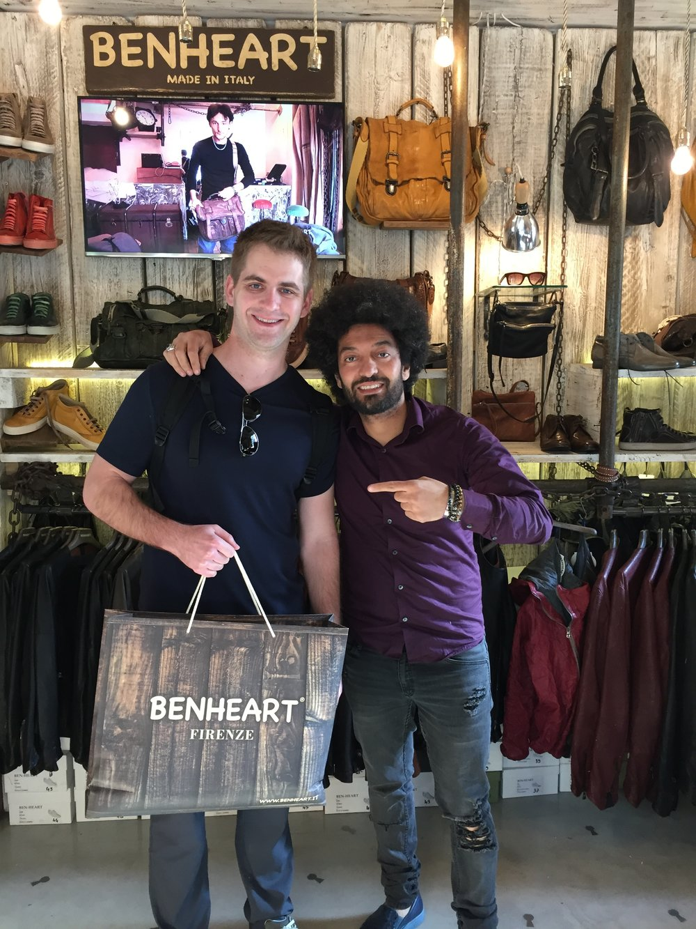 Paul purchasing a jacket from the man himself, Ben Heart