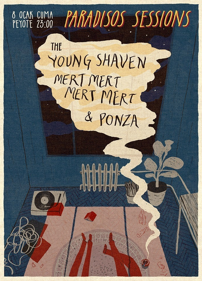 The Young Shaven. 8.1.16 Peyote with Mertmertmertmert, and Ponza poster by Gunseli.