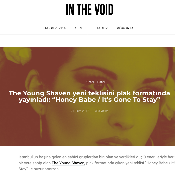 "The Young Shaven yeni teklisini plak formatında yayınladı ""Honey Babe It's Gone To Stay"" – In The Void.png"