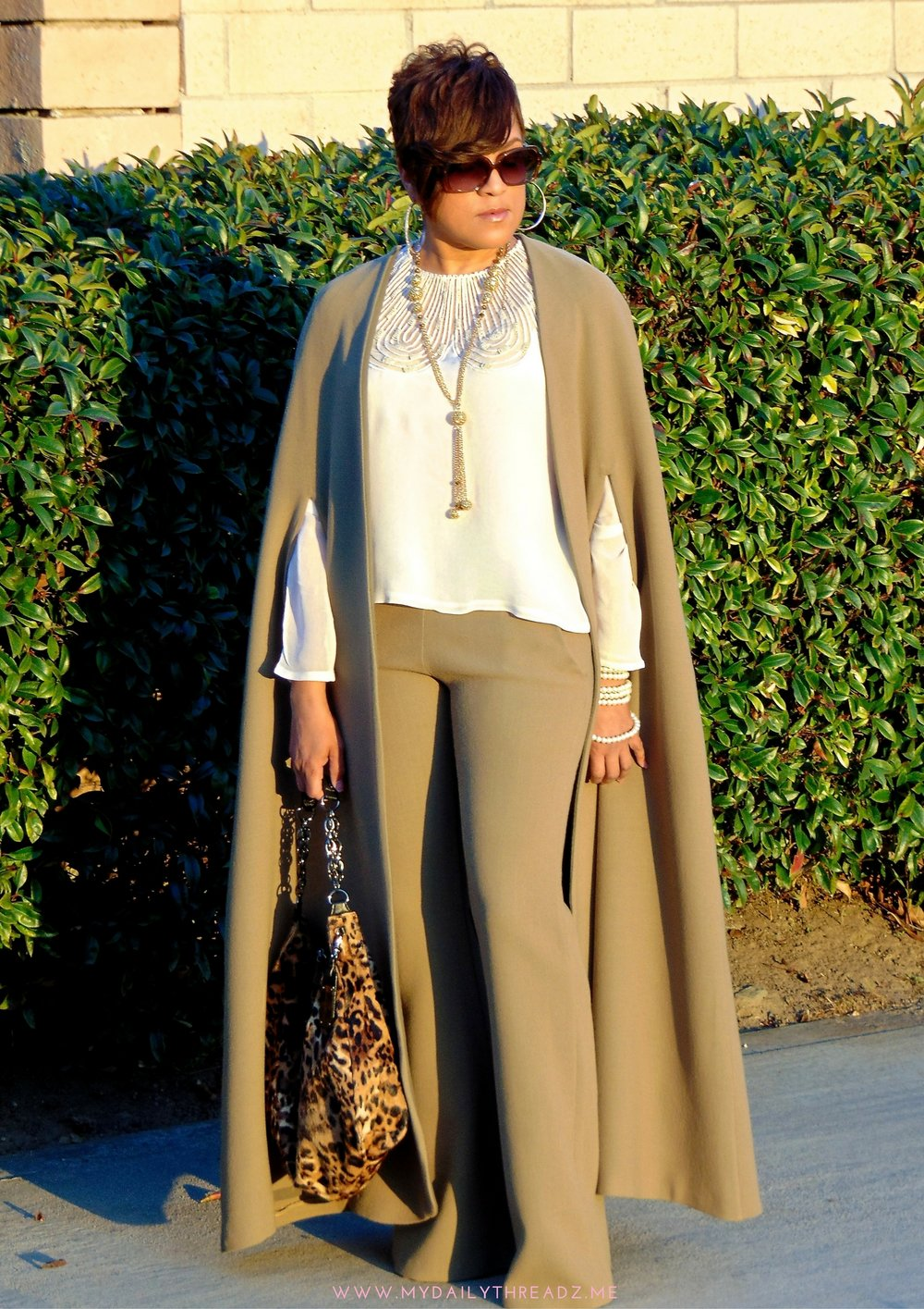 This wool cape and matching pants happens to be one of my all time favorites. Unfortunately the California weather prevents me from enjoying it as much as I would like!