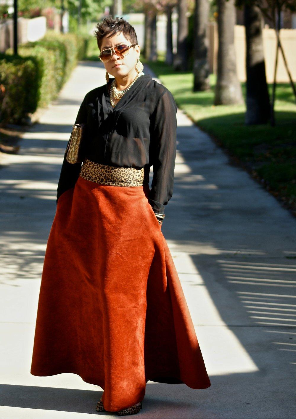 Chiffon top & Faux Suede Circle Skirt