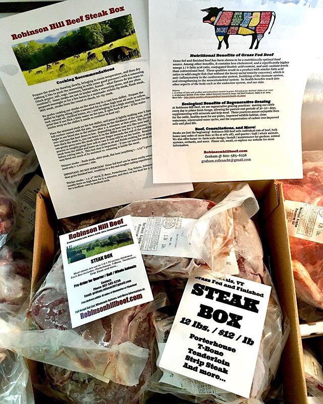 STEAK BOXES!!! 12 lbs @ $12 / lb  Variety of cuts with retail prices of $10-20 / lb.  Includes: T-Bone, Strip Loin, Delmonico, and more... GET 'EM WHILE THEY LAST!  #grassfedbeef #vermontfarms #localvore #paleo #primal #grazing #localbeef #goodforyou #grassfed #regenerativeagriculture #permaculture #vermontbeef #centralvermont #maplecorner #nutrientdense #steak