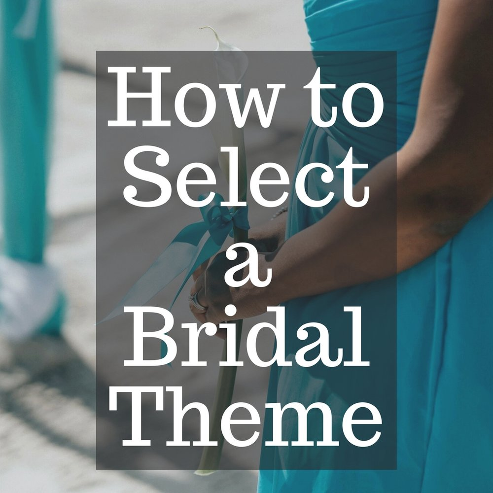 Selecting a Theme - There is no right or wrong when selecting a theme. It is YOUR wedding day. As a matter of fact, your theme or ideas DO NOT have to fit into the box of a particular theme. You can totally create some sort of hybrid-theme. Below are a few things to think about when creating a theme.