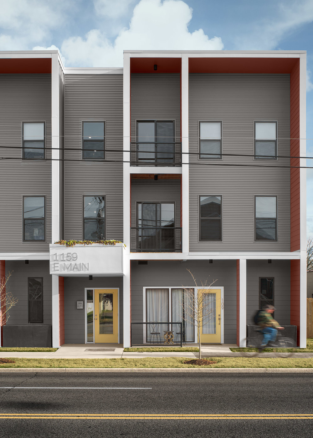 Front Facade of  Sculpture Flats . photo by Morgan Nowland photography
