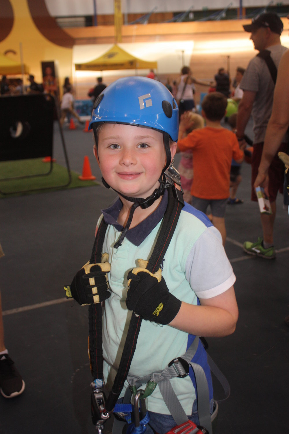 Cameron kitted up for the zipline