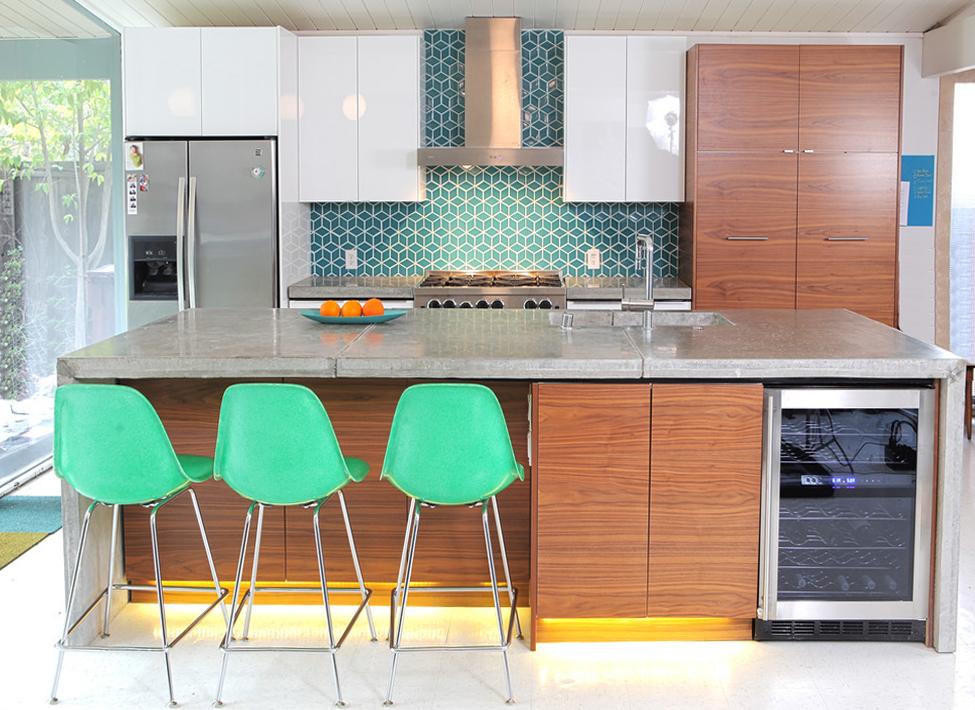 Eichler Kitchen Remodel Fireclay Tiled Backsplash Mid