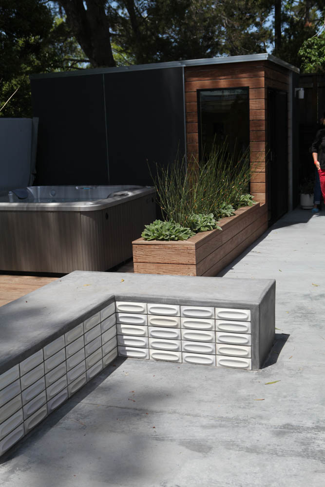 Modern concrete bench with Heath Ceramic Tile