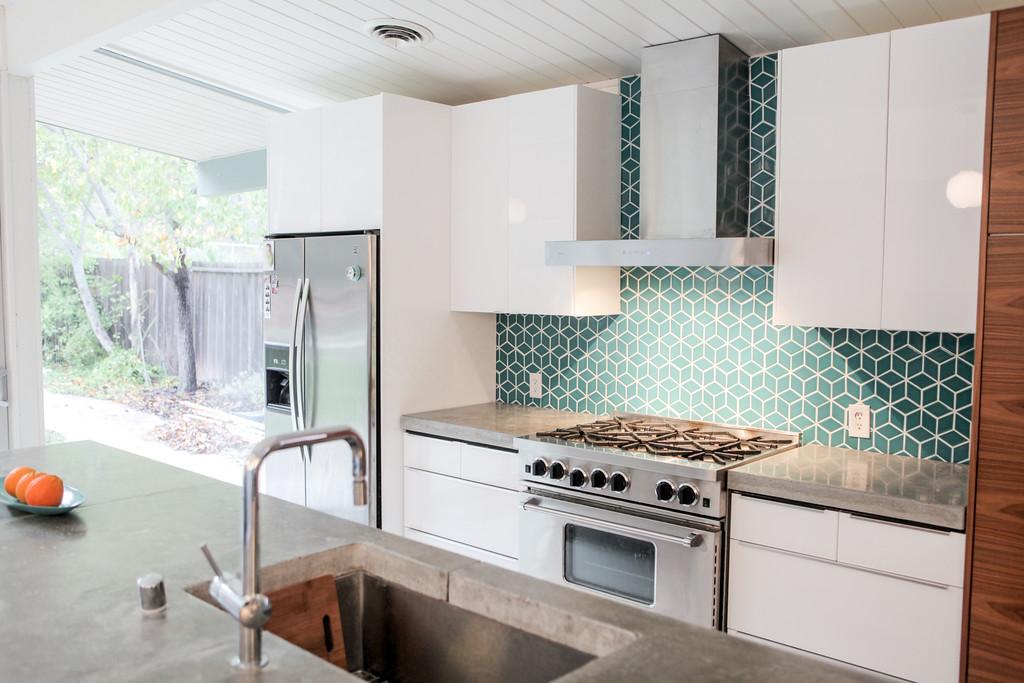 eichler kitchen remodel fireclay tiled backsplash - Mid Century Modern Kitchen Update