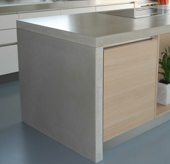 waterfall edge concrete countertop