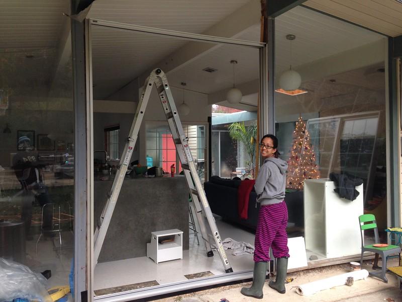 eichler-sliding-door-milgard-frame-install & Eichler Sliding Doors: Replacing Patio Doors u2014 Mid Century Modern ...