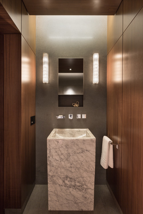 Wood Paneled Bathroom by Touzet Studio
