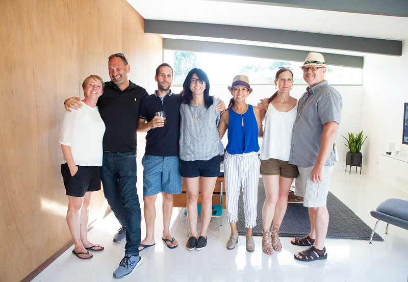 A fun gathering and celebration of Eichler-friends and mid-century modern enthusiasts:  (Left to right) Karen from  Fogmodern , Blaine - Owner of  Modern Restoration  + former Eichler owner, Andy from  Fogmodern , Karolina from  dearhousiloveyou.com  + San Jose Eichler owner, me (John is the photog), and our RSM neighbors Christy & Brian.