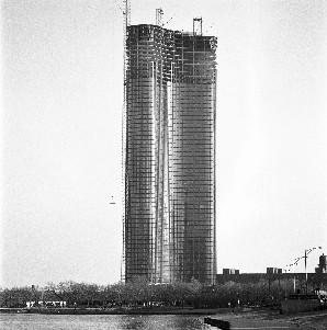 Lake Point Tower under construction in the 1960s, via Lake Point Tower Condominium Association website.
