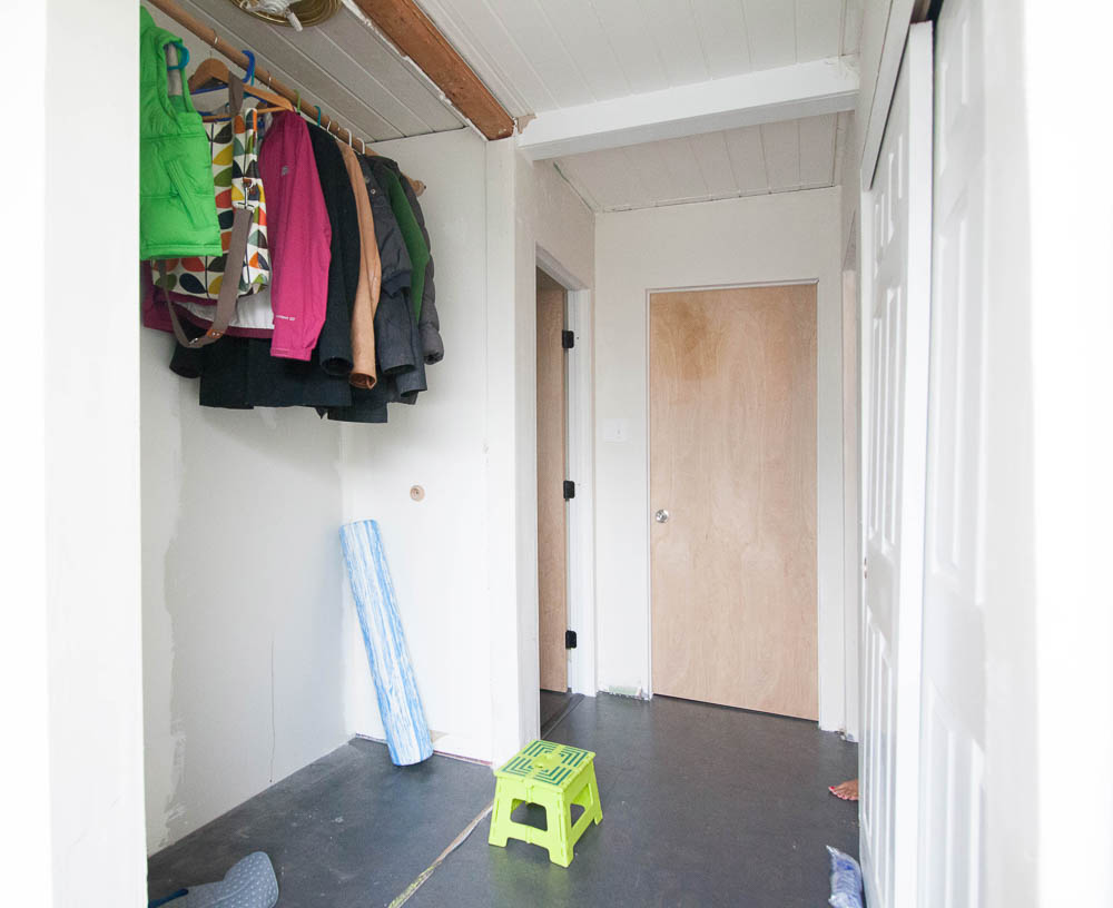 Here's where we started. It used to be a closet, then previous owners closed it up, then we opened it back up.