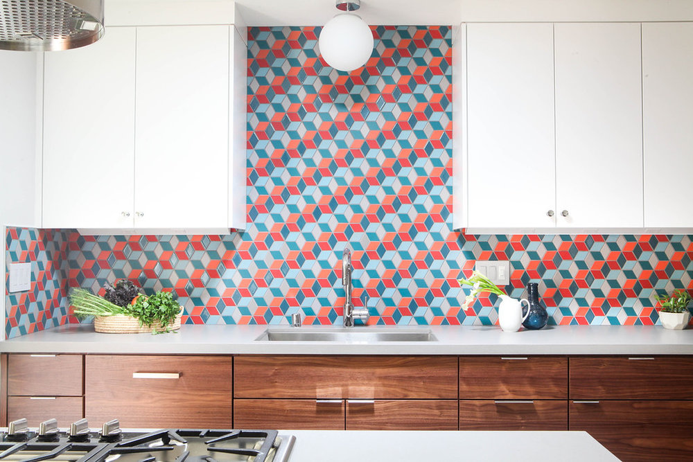 A custom pattern utilizing Heath Ceramics mural collection, in mid-century inspired color palette.