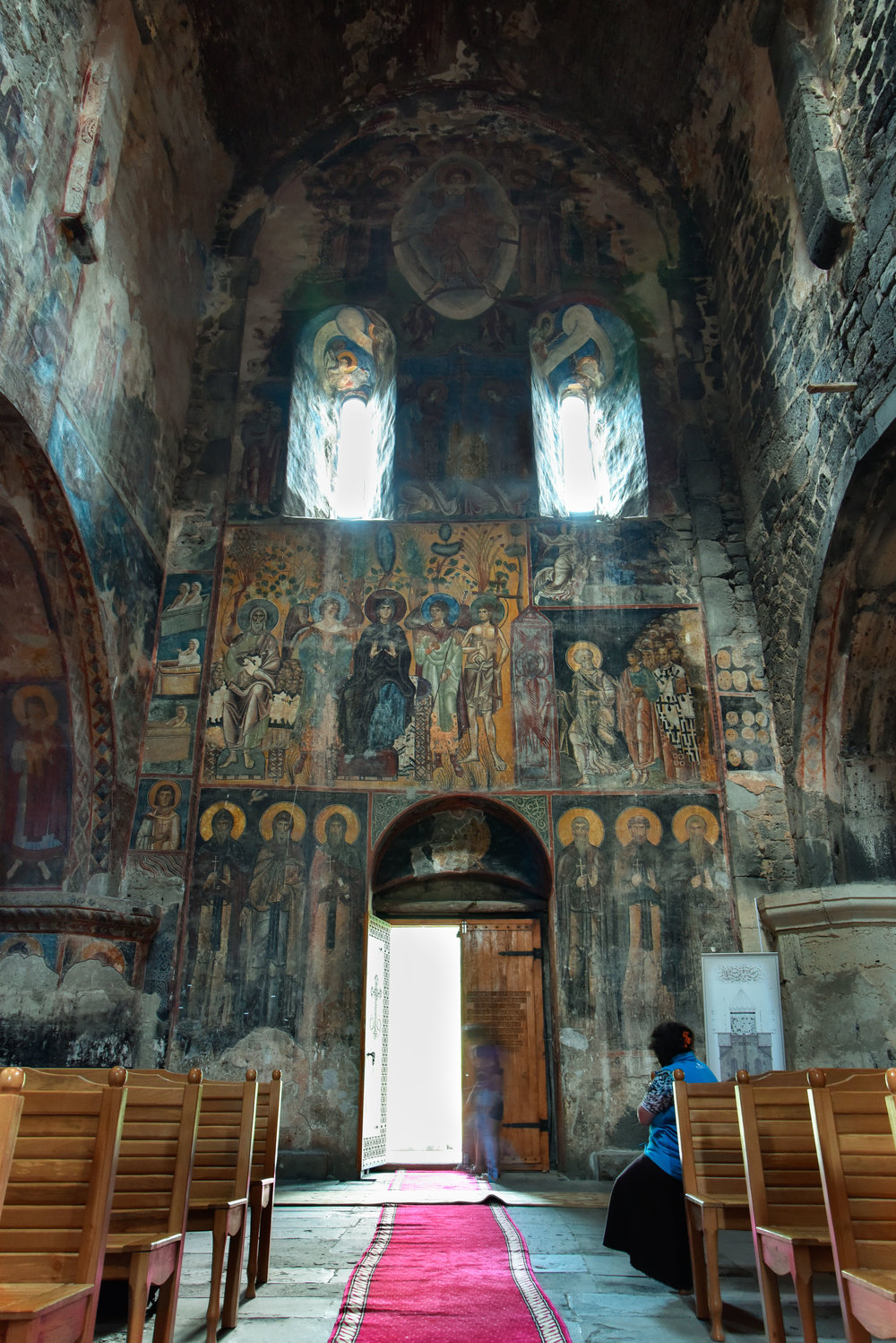 The interior is completely covered by the beautiful frescoes that have survived both time and wars over the centuries