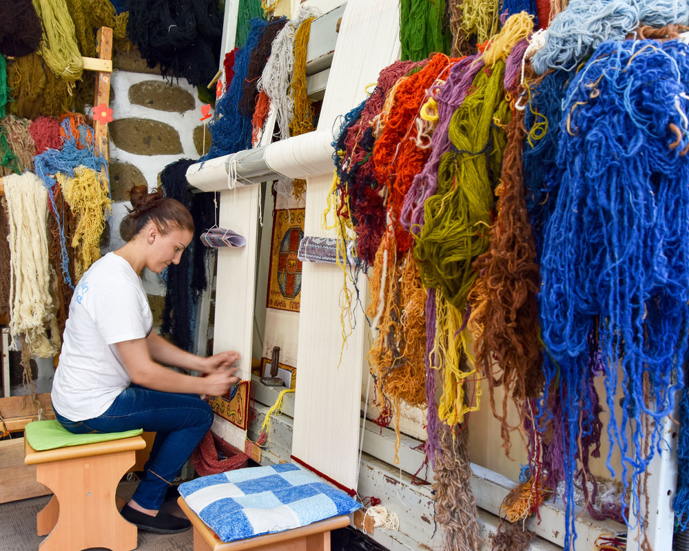 Narine, master weaver at Cross of Armenian Unity, Echmiadzin, Armenia.