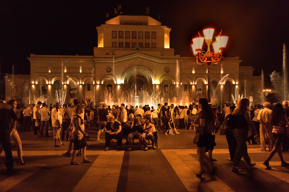 Music, lights, and tourists at Republic Square