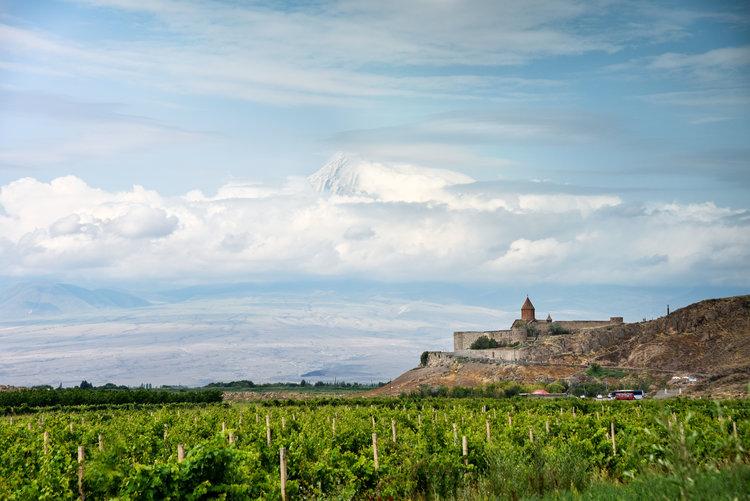 Holy Mt. Ararat rises up behind Khor Virap