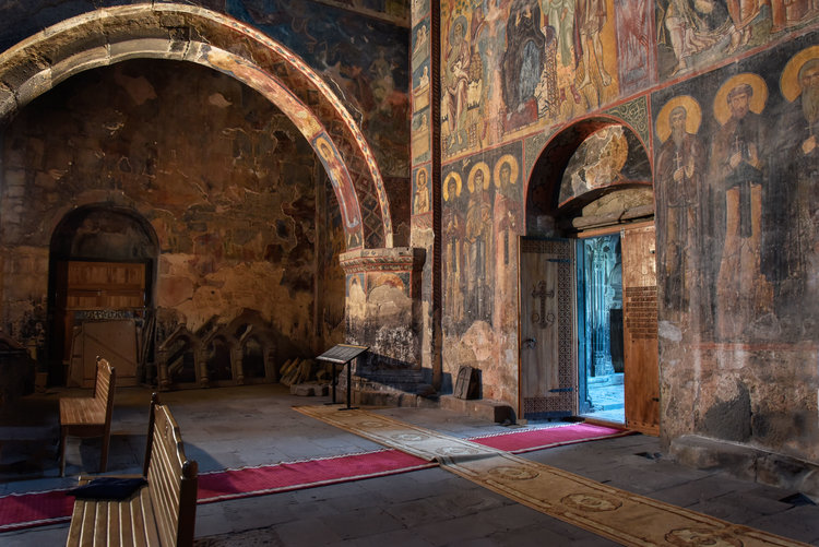 Architectural elements await restoration along with the frescoes
