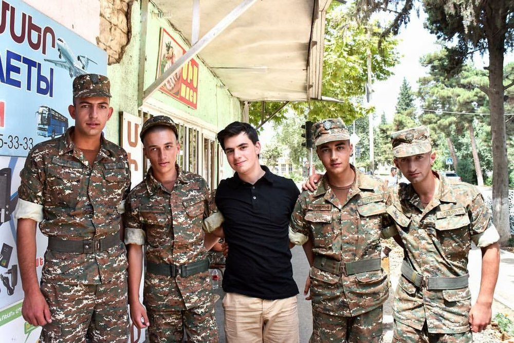 Aram with soldiers from Martuni, Artsakh