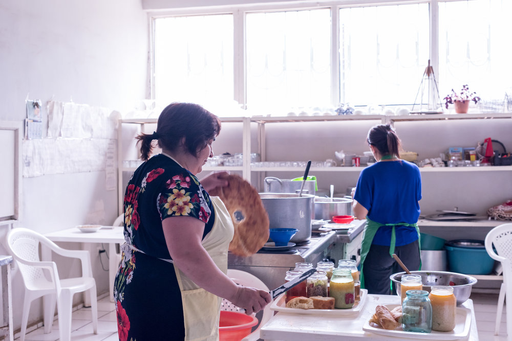 Cooks prepare nutritious meals for clients in FAR's soup kitchen.