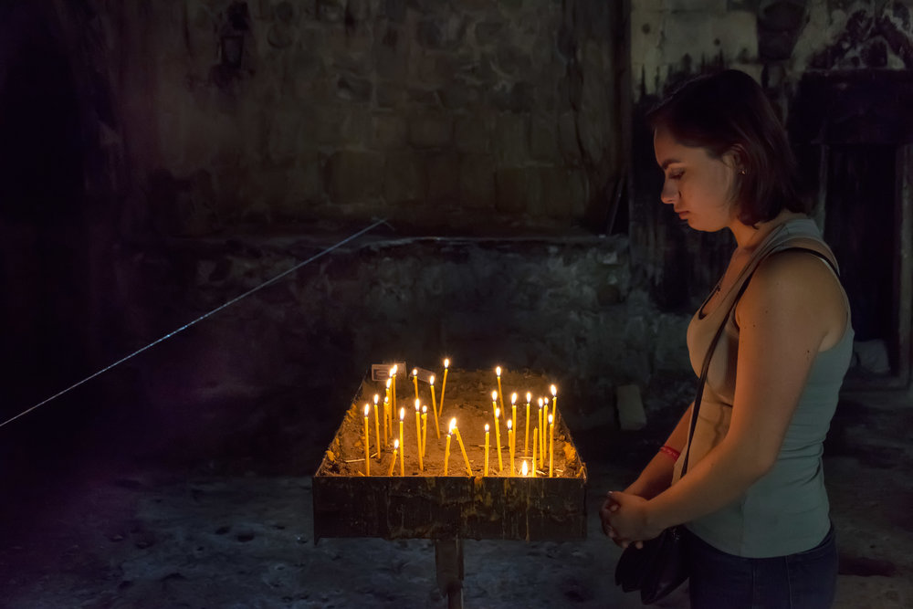 Prayers and silent meditation follow the matagh