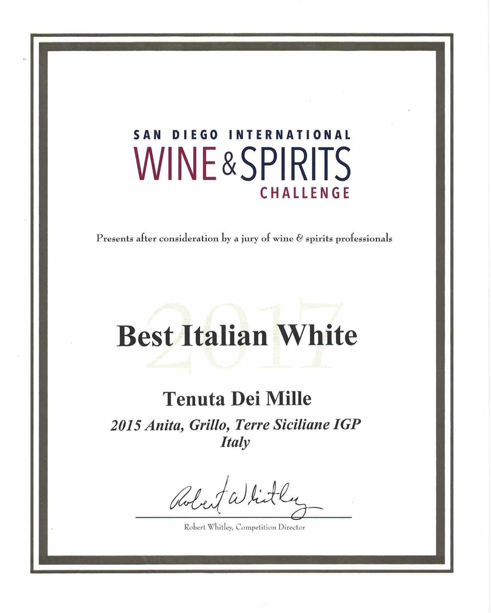 Tenuta Dei Mille- Anita-Best Italian White