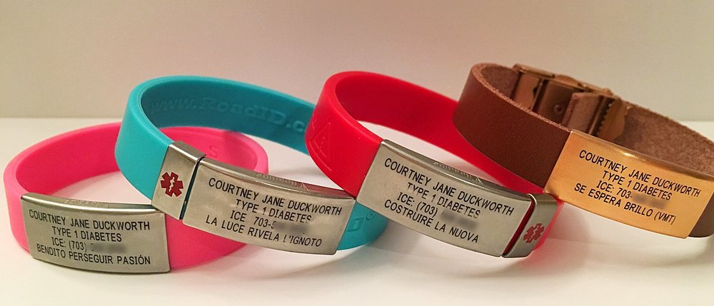 My mini RoadID collection. Along with health info and emergency contact information, each bracelet has a line of inspirational text.