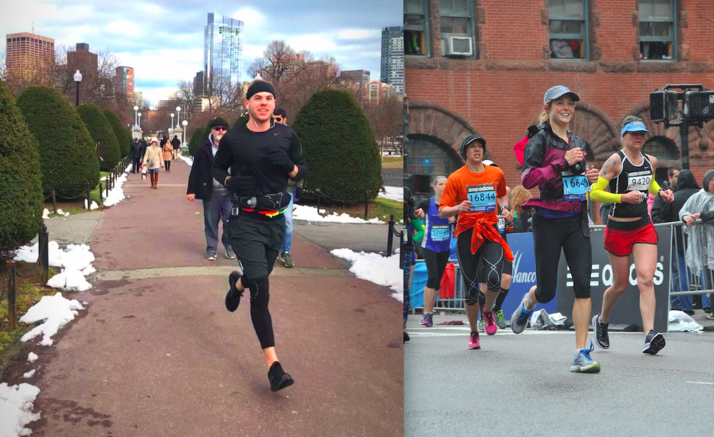 Patrick training through the Boston winter (left)and Courtney running the 2015 Boston Marathon (right).