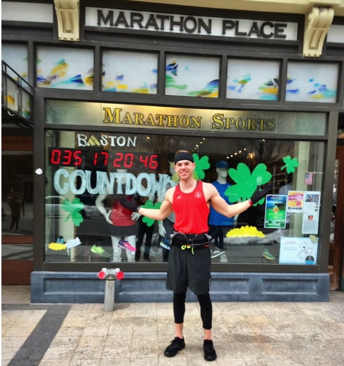 Patrick outside the famous Marathon Sports on Boylston Street.