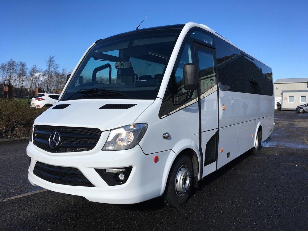 33 seat luxury Mercedes-Benz mini-coach.