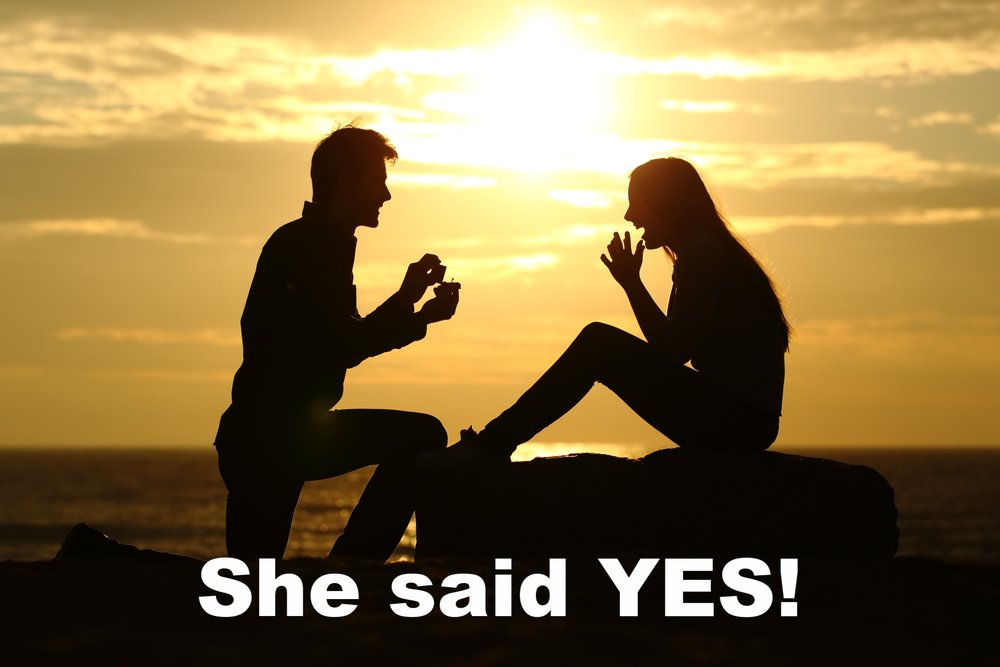 Sunset proposal on the beach.