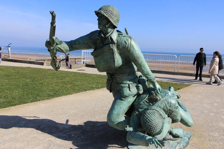 D-Day Beach memorial statue.