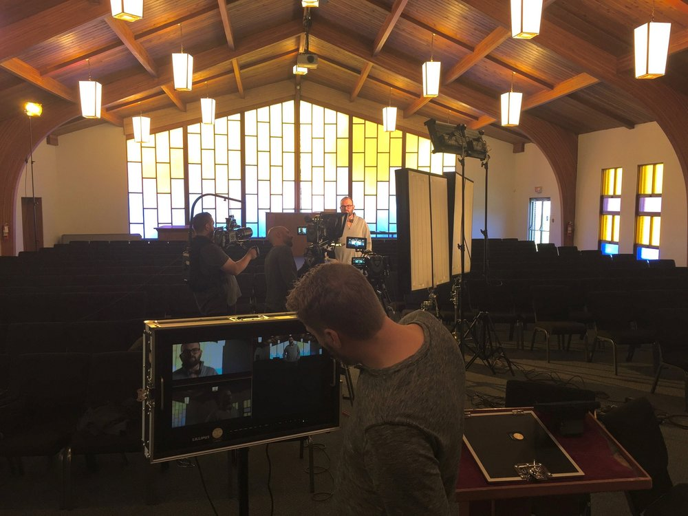 Jon filming a segment for   Convergence   at a Baptist church.