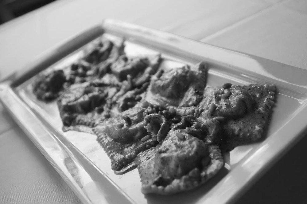 Ravioli on a platter