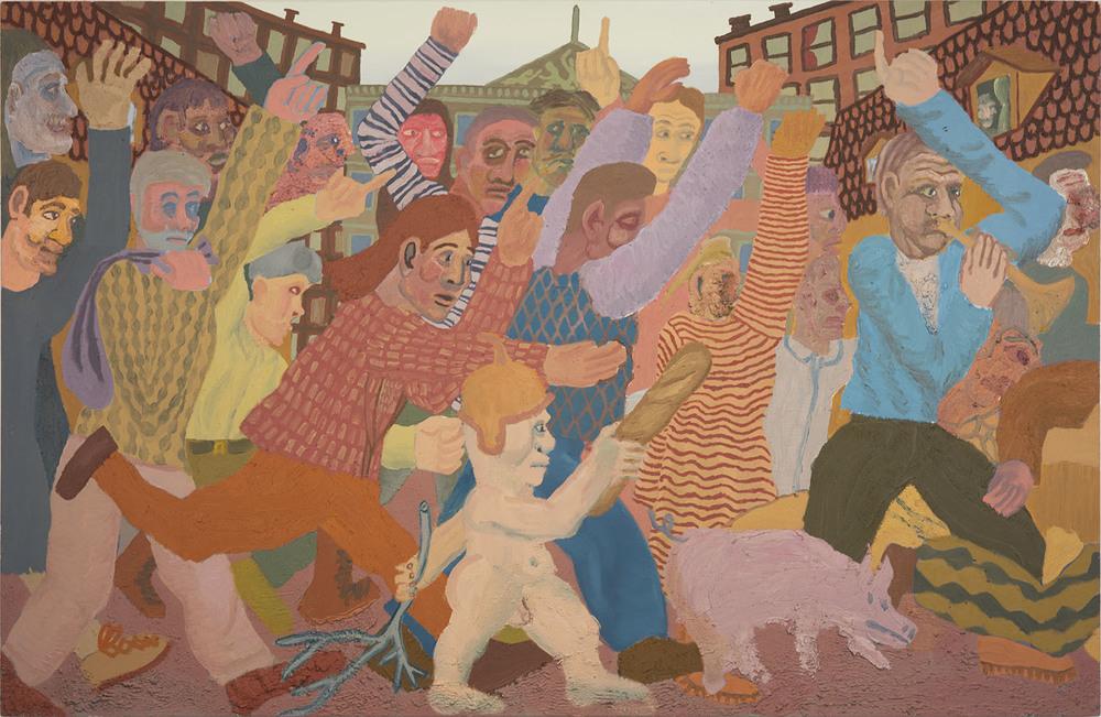 """Riled Up , 2015  Oil, sand, sawdust, and acrylic mediums on canvas   47""""x72"""""""