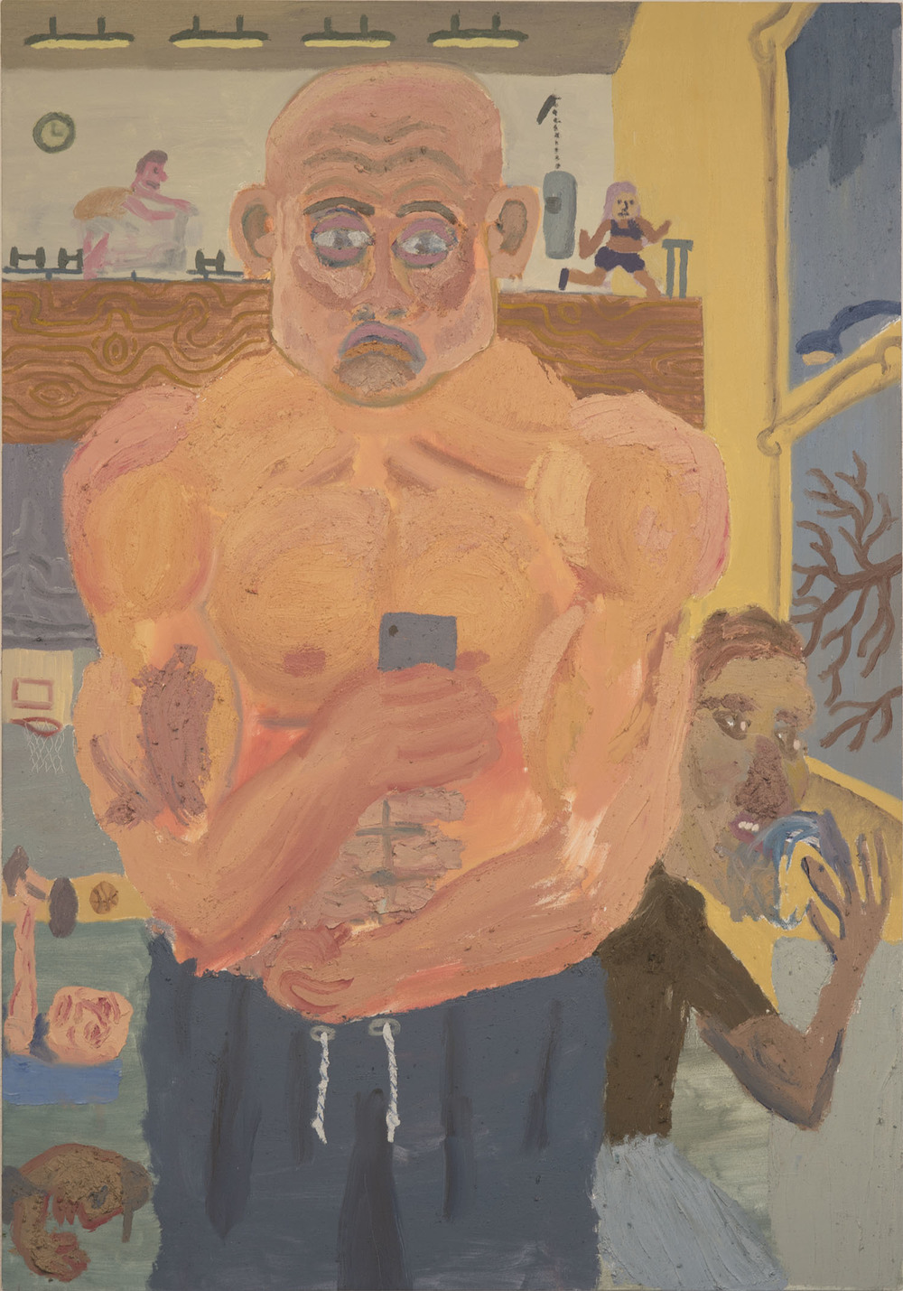 """Strongman Selfie , 2015  Oil, sand, and sawdust on canvas  39""""x56"""""""
