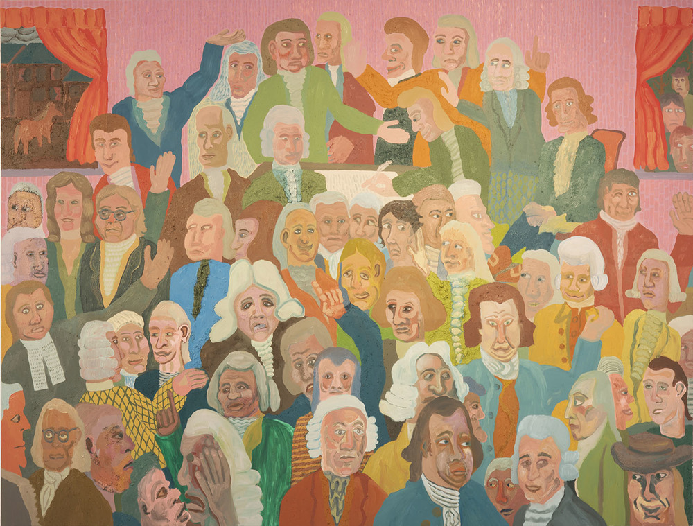 """The Signing of the Declaration of Independence , 2016  Oil, sand, and sawdust on canvas  96""""x72"""""""