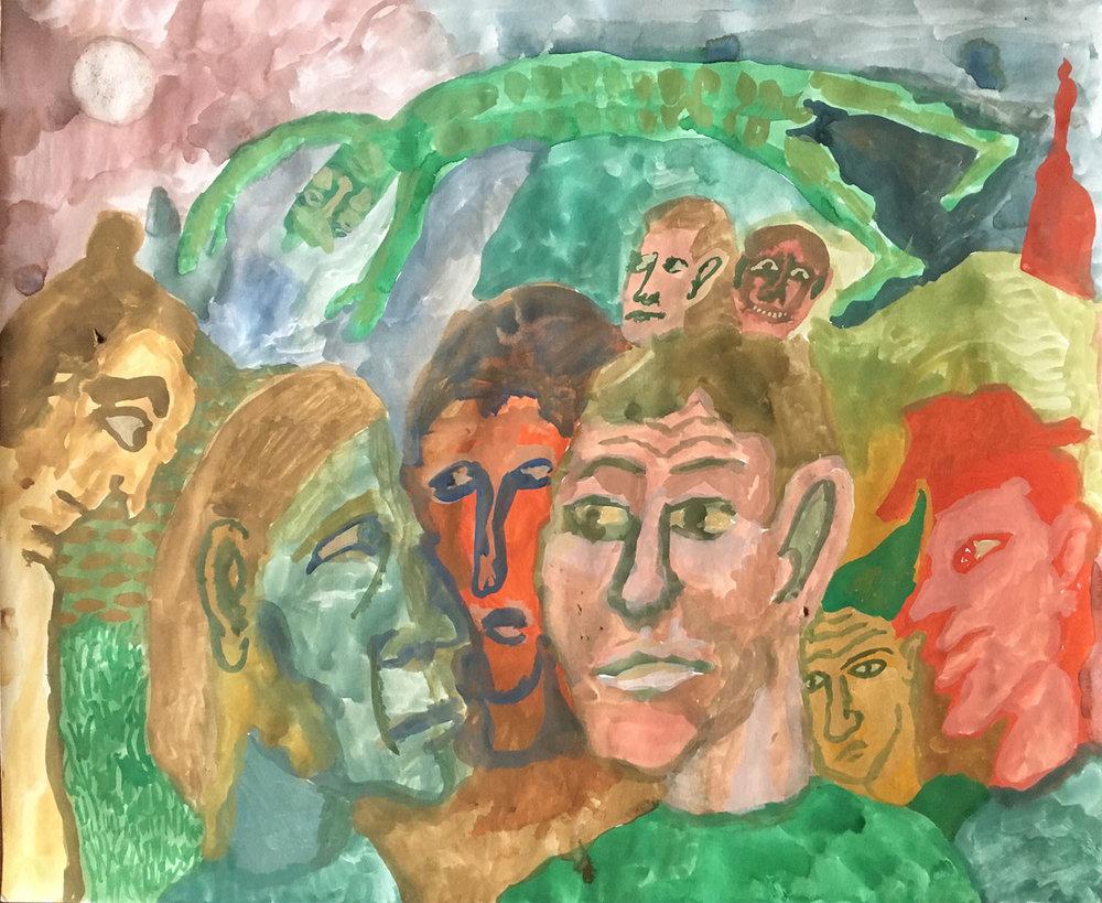 Gathering Beneath Flying Green Man