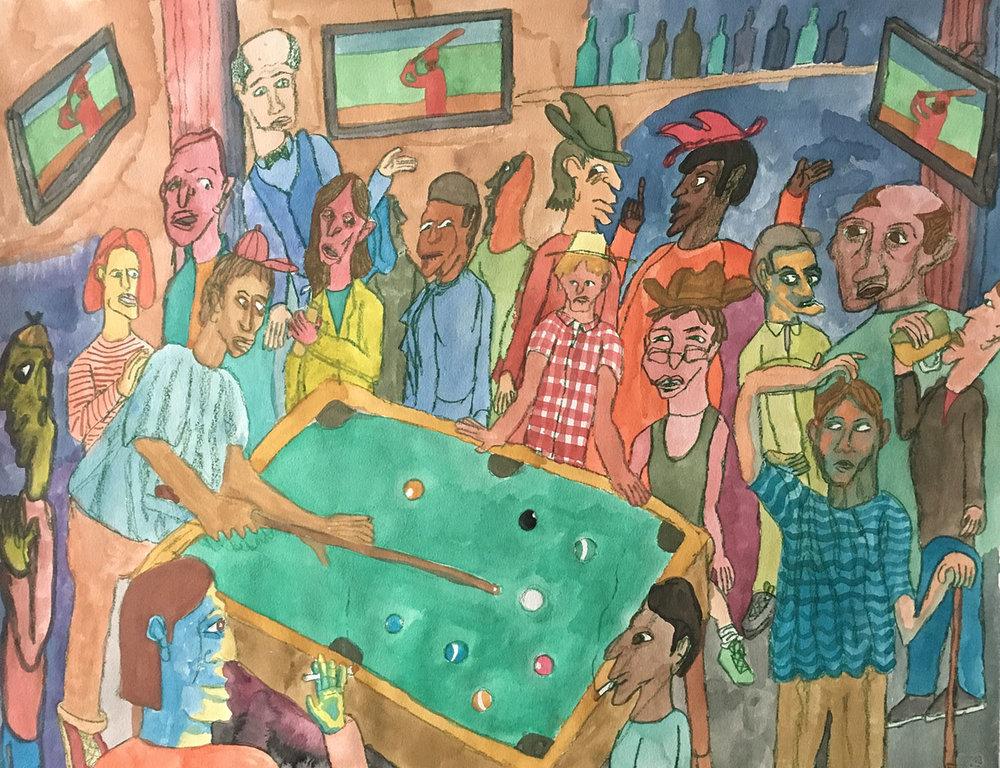Bar Scene with Billiards Table